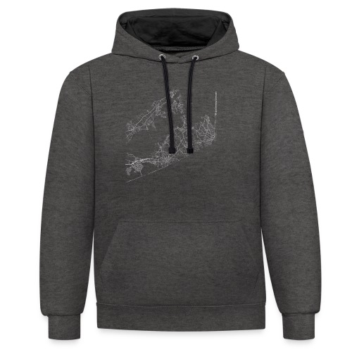 Minimal The Hamptons city map and streets - Contrast Colour Hoodie