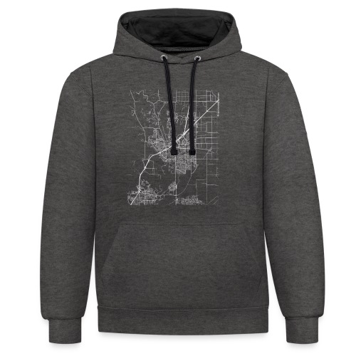 Minimal Vacaville city map and streets - Contrast Colour Hoodie