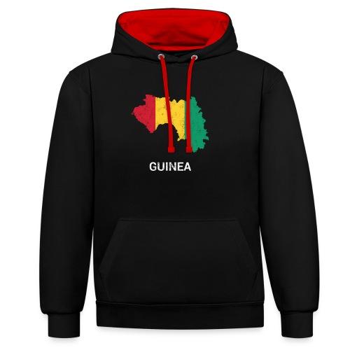 Guinea ( Guinée Gine ) country map & flag - Contrast Colour Hoodie