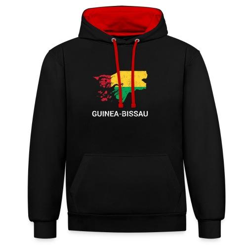 Guinea-Bissau ( Guiné-Bissau ) country map & flag - Contrast Colour Hoodie