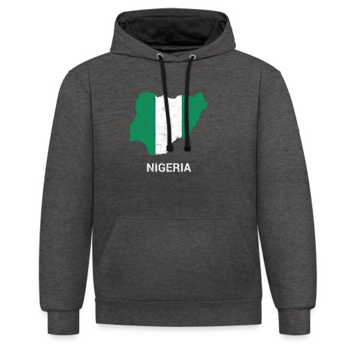 Nigeria country map & flag - Contrast Colour Hoodie
