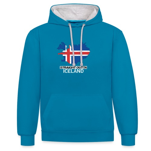 Straight Outta Iceland country map - Contrast Colour Hoodie