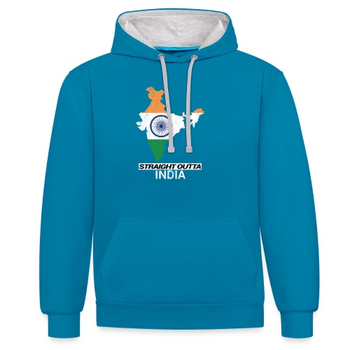 Straight Outta India (Bharat) country map flag - Contrast Colour Hoodie