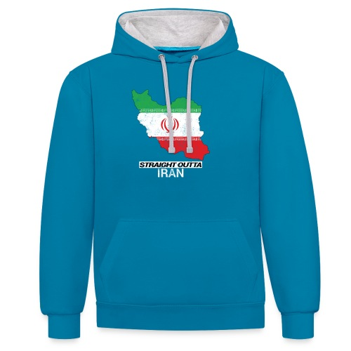 Straight Outta Iran country map & flag - Contrast Colour Hoodie