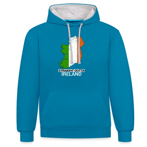 Straight Outta Ireland (Eire) country map flag - Contrast Colour Hoodie