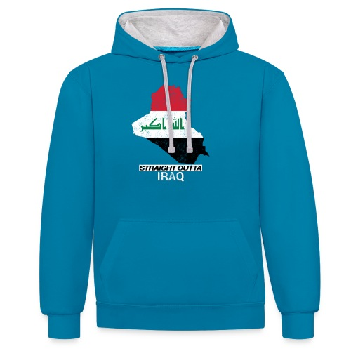 Straight Outta Iraq country map & flag - Contrast Colour Hoodie