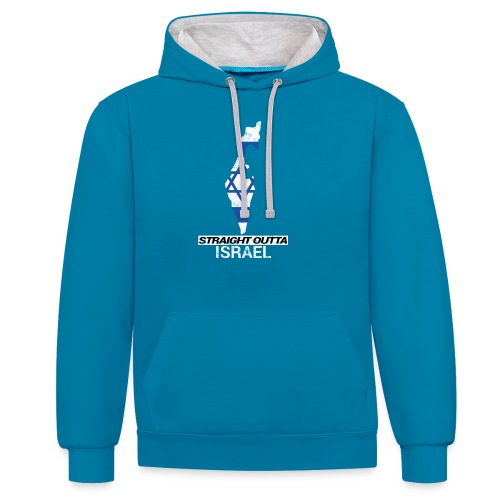 Straight Outta Israel country map & flag - Contrast Colour Hoodie