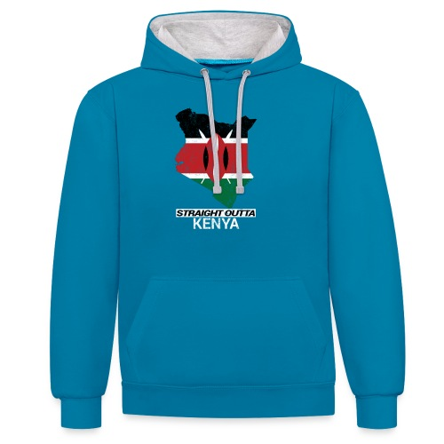 Straight Outta Kenya country map & flag - Contrast Colour Hoodie