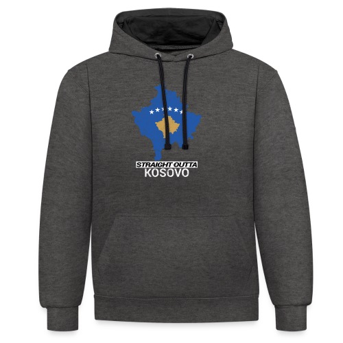Straight Outta Kosovo country map - Contrast Colour Hoodie