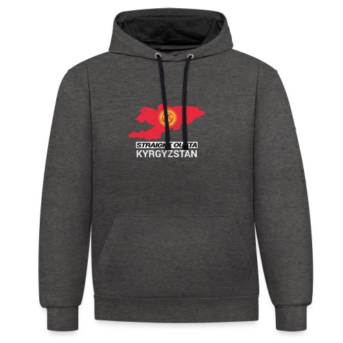 Straight Outta Kyrgyzstan country map - Contrast Colour Hoodie