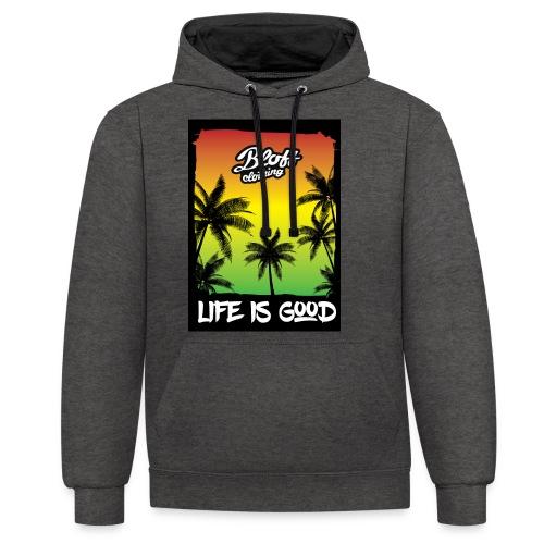 life is good - Sudadera con capucha en contraste
