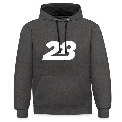 28 White - Contrast Colour Hoodie
