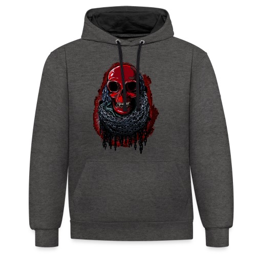 Red Skull in Chains - Contrast Colour Hoodie