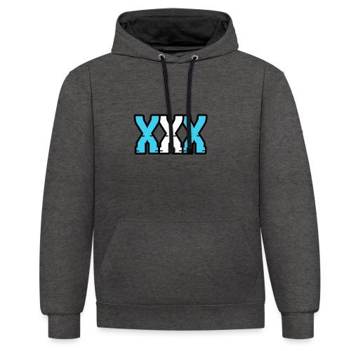 XXX (Blue + White) - Contrast Colour Hoodie