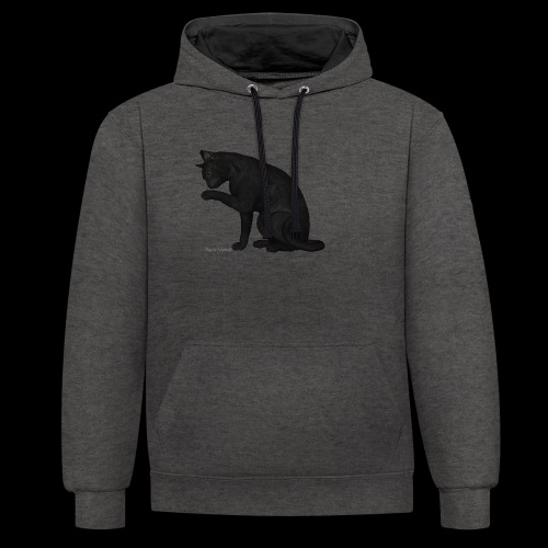 chat noir élégant - Sweat-shirt contraste