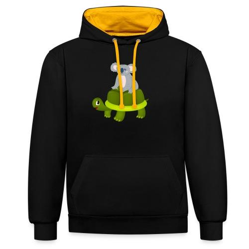 Koala Riding Turtle Gift - Kontrast-Hoodie