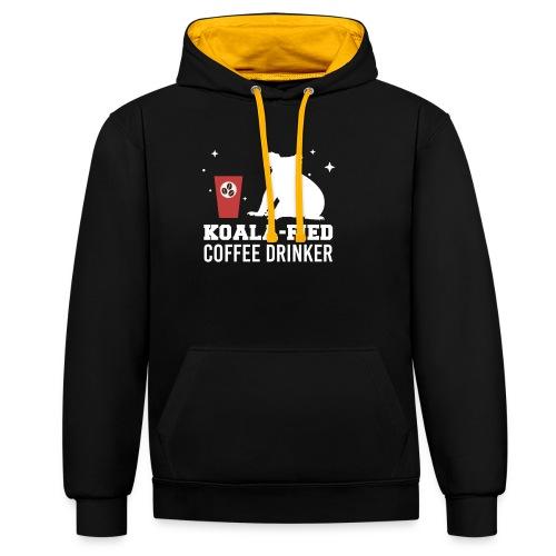 Koala-fied Coffee Drinker Funny Fan Lover Gift - Kontrast-Hoodie