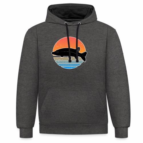 Retro Hecht Angeln Fisch Wurm Raubfisch Shirt - Kontrast-Hoodie
