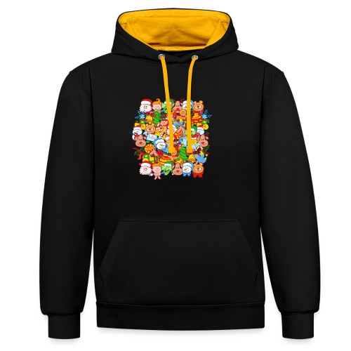 All are ready for Christmas, to celebrate in big! - Contrast Colour Hoodie