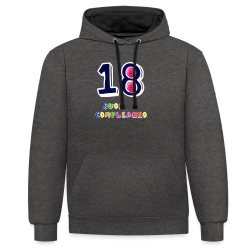 18 BUON compleanno - Felpa con cappuccio bicromatica