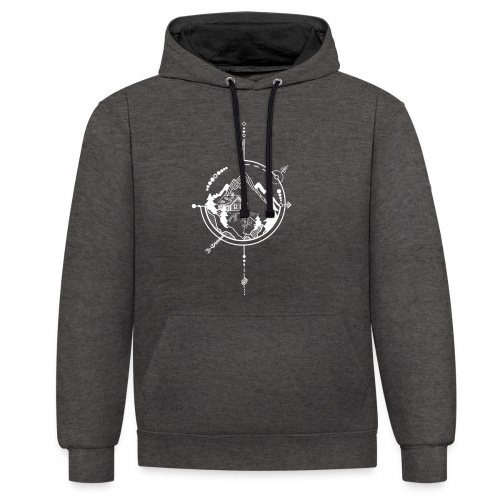 Cabin in the mountains - Contrast hoodie