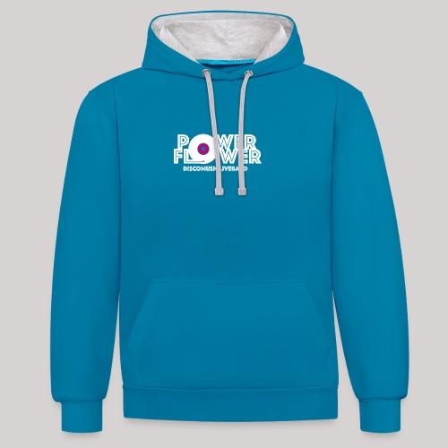 Logo PowerFlower bianco e fuxia - Felpa con cappuccio bicromatica
