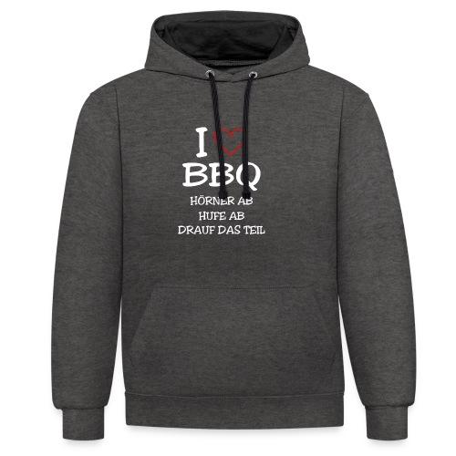 BBQ: I LOVE BARBECUE - Kontrast-Hoodie