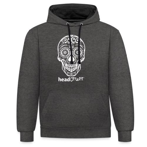 Skull & Logo white - Kontrast-Hoodie