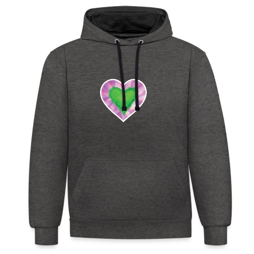 Green Heart - Contrast Colour Hoodie