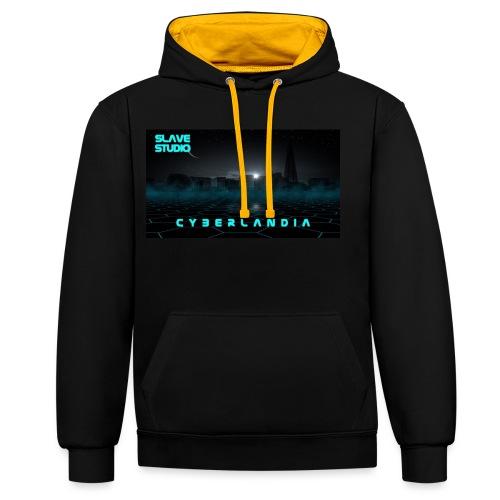 Cyberlandia - Felpa con cappuccio bicromatica