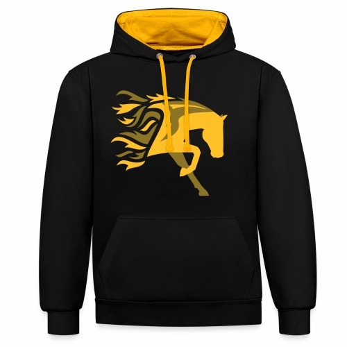 Horse Flame - Kontrast-Hoodie