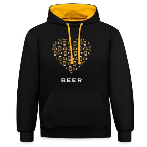Love Beer - Kontrast-Hoodie