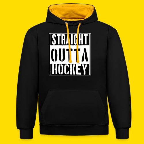 straight outta hockey // Eishockey Fun Shirt - Kontrast-Hoodie