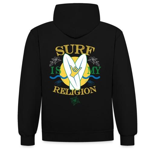 Surf-is-my-religion - Felpa con cappuccio bicromatica