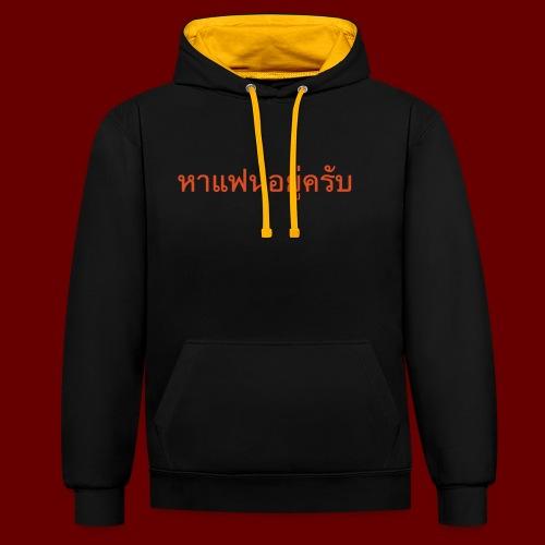 Ich suche eine Freundin auf Thai T-Shirts - Kontrast-Hoodie