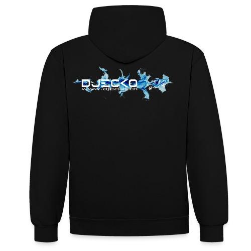 logo wave bleu fond noir - Sweat-shirt contraste