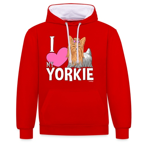 I love my Yorkie - Contrast Colour Hoodie