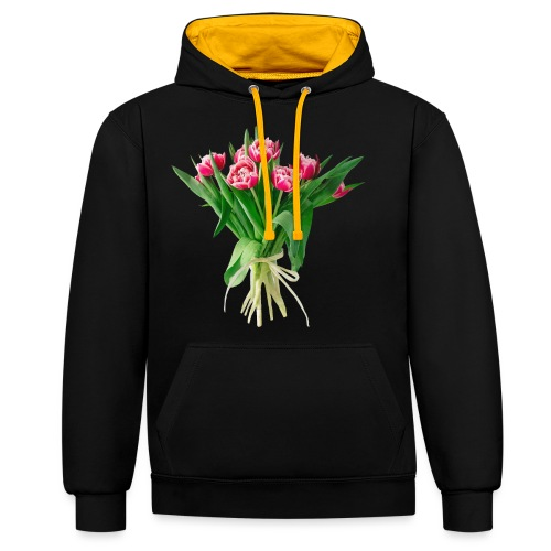 Tulpenstrauss, Flower Bouquet Tulipan - Kontrast-Hoodie