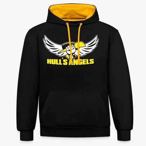 Hull's Angels Logo - Front and Center - Contrast Colour Hoodie