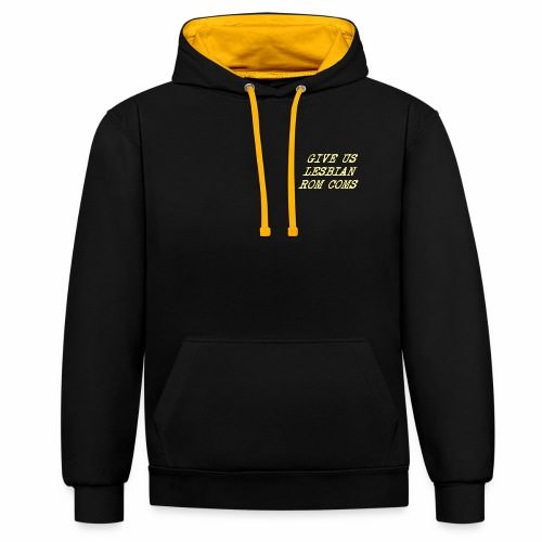 Give Us Lesbian Rom Coms - yellow - Contrast Colour Hoodie