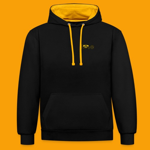 hive365 logo front and back and gold hoodie - Contrast Colour Hoodie