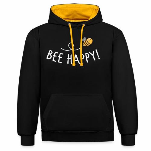Bee Happy! - Kontrast-Hoodie