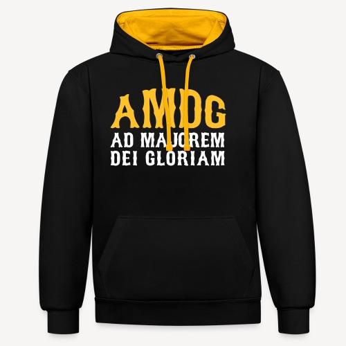 AMDG AD MAJOREM DEI GLORIAM - Contrast Colour Hoodie