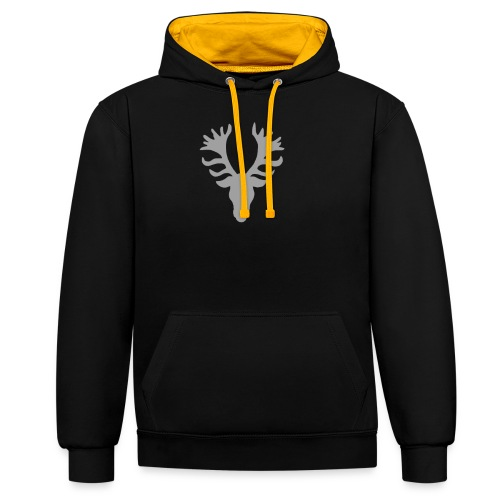 Bucks Head Silver PNG - Contrast Colour Hoodie