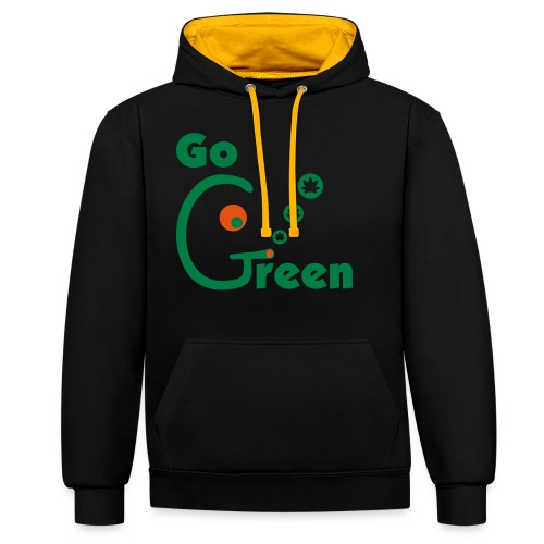 Go Green - Contrast Colour Hoodie