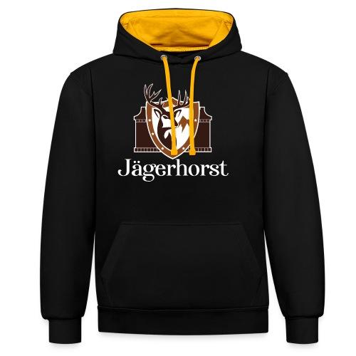 Jägerhorst Logo Weiss - Kontrast-Hoodie