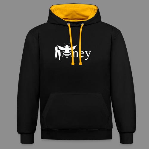 Honey (White version) - Contrast Colour Hoodie