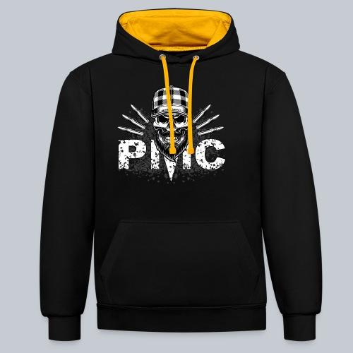 PMC Skull white - Kontrast-Hoodie