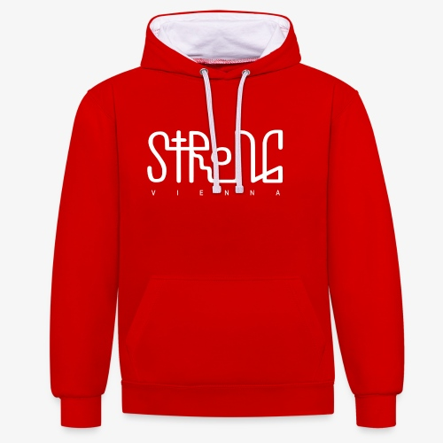 strong vienna logo white - Contrast Colour Hoodie