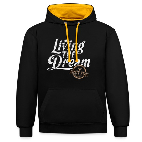 Living The Dream in White - Contrast Colour Hoodie